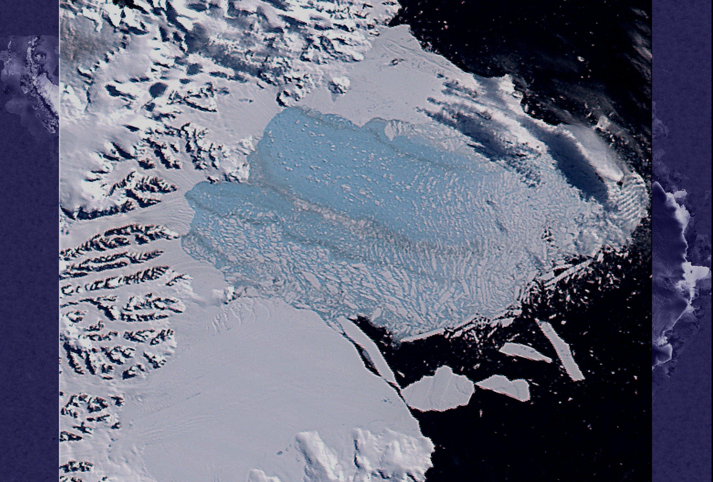 La piattaforma Larsen B vista da satellite prima......