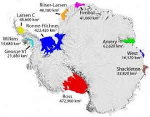 Le principali piattaforme di ghiaccio dell'Antartide: sono tutte molto più estese della Larsen B e se si frantumassero farebbero accelerare una grande massa di ghiacci verso il mare che ne innalzerebbero il livello.